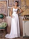 Sheath / Column Wedding Dress Sweep / Brush Train / Floor-length Straps with