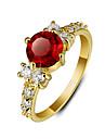Clasic simplu roșu inele de zirconiu cubic, placate cu aur de 18 k pentru femei