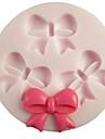 Tre hål Bowknot runda silikonform Fondant Formar Sugar Craft Verktyg Harts blommor Mould formar för kakor