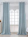 Deux Panneaux Designer Rayure Bleu Salle de sejour Coton Panneau Rideaux rideaux