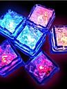 12st blå / röd / grön / rosa / gul / RGB / naturvit byte ledde flytande ljussensor isbitar form