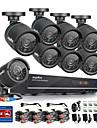sannce® 720 AHD 8ch inspelning CCTV dvr svart kula kamera hem säkerhetsövervakning kamerasystem