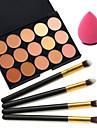15 couleurs anticernes + 4pcs manche noir maquillage Brush Set cosmetique + bouffantes maquillage beaute fondation oeuf (ensembles