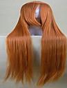 nyanländ cosplay peruk parti peruk blondin super långt rakt animerade syntetiska peruker tecknad peruk