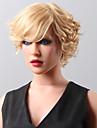 nya snygga kort vågig fluffig peruk remy människohår hand bunden -top emmor peruker för kvinna