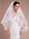 Voal de Nuntă Două Straturi Voaluri Lungi Până la Cot Margine panglică Margine dantelată Tul Alb Ivoriu