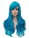 longs ondules couleur bleu cheveux cosplay perruque synthetique de qualite superieure