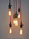 6 tetes lumieres pendentif retro, avec interrupteur diy art salon salle a manger / entree / lumiere du couloir luminaire
