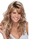 femmes 24inch beige ton blond long corps ondule vague coup synthetique cote des perruques de cheveux avec connexion filet a cheveux