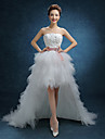 A-line Wedding Dress Asymmetrical Strapless Lace / Tulle with Lace