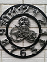 fer cru style europeen mur muet horloge (couleur argentee)