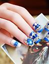 24pcs / set falska naglar falska spik färdiga manikyr naglar tips blå diamant