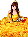 Beauty and the Beast Princess Belle Yellow Satin Evening Gown Dress Women\'s Halloween Costume