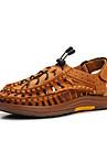 pantofi pentru bărbați în aer liber / casual, sandale din piele nappa maro / auriu