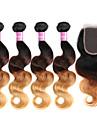 Trame cheveux avec fermeture Cheveux Bresiliens Ondulation naturelle 18 Mois 4 Pieces tissages de cheveux