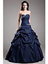Rochie de mireasa fara bretele lungime de taft taffeta rochie de seara formala cu draperii laterale