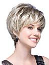 femmes capless courte ligne droite lumiere ondulee ton beige blond coup synthetique cote des perruques de cheveux avec connexion filet a cheveux