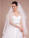 Wedding Veil Two-tier Blusher Veils / Fingertip Veils Pencil Edge Tulle White / Ivory