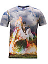 3d t-shirt katt rida unicorn utskrifts cosplay dräkter t-shirt nördigt kläder rund hals korta ärmar för manligt / kvinnligt