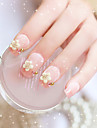 24pcs / set faux ongles faux ongles fini manucure ongles conseils fleur blanc perle