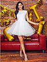 Haine Bal Bijuterie Mini / Scurt Tulle Petrecere Cocktail Bal Rochie cu Mărgele Aplică Dantelă de TS Couture®