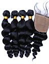 SLOVE hår 7a grad jungfrulig peruanska lös våg med silke stängning människohår peruanska virgin hår 4 buntar och nedläggning