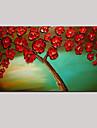 sträckt (redo att hänga) handmålade oljemålning Röda blommor livets träd vägg konst