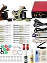 professionell komplett 2 tatueringsmaskin kit 2st bläck strömförsörjning nål grepp tips