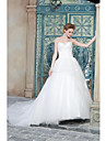 A-line Wedding Dress Sweep / Brush Train Strapless Organza / Satin with Appliques / Beading