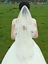 Voal de Nuntă Două Straturi Voaluri Lungime Până la Vârfurile Degetelor Margine cu Aplicație de Dantelă Tul Alb