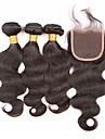 cheveux Slove superieure 7a 100% non sertis vierges faisceaux d\'ondes de corps de cheveux humains peruviens avec 4pcs de fermeture de