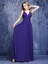 A-line V-gât lungime podea sifon rochie de onoare cu beading