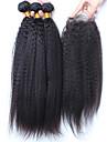 Trame cheveux avec fermeture Cheveux Malaisiens Droit 12 mois 4 Pieces tissages de cheveux