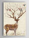 handmålade oljemålning djur dekorerade rådjur och fåglar med sträckt ram 7 vägg arts®