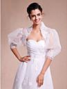 Wraps Wedding Coprispalle Maniche 3/4 Pizzo Organza Bianco Matrimonio Da sera Casual Pizzo Aperte