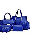 Femme Polyurethane Formel Decontracte Bureau & Travail Shopping Cabas Ensembles de Sac Blanc Violet Bleu Jaune Rouge Noir