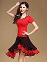 Latin Dance Dress Tops+Skirts Women\'s Performance Cotton / Tulle / Milk Fiber Ruched 2 Pieces Red Color