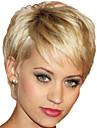 8 pouces femmes court blond perruque synthetique cheveux raides avec connexion filet a cheveux