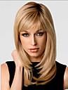 Bang mode Gloden de cote doux de longueur moyenne boucles perruque de cheveux synthetiques