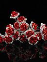 10 pcs  Women\'s Red Rose Flower Headpiece-Wedding U Shape Hair Pin / Hair Stick Jewelry