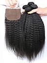 7a slove Haar unverarbeitete menschliche reine peruanische verworrene gerade Buendel mit Seide Basis Schliessung Menschenhaar 5 PC /