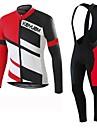 KEIYUEM® Maillot et Cuissard Long a Bretelles de Cyclisme Unisexe Manches longues VeloRespirable / Sechage rapide / Resistant a la