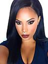 högsta naturliga svart siden rakt syntetiskt spets framför peruker 100% värme resisitant syntetiskt hår för kvinnor i lager