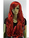 Capless longue perruque rouge Oblique femmes Synthese pleine perruque de cheveux