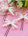 Set of 3 Women\'s White/Red Bow Bowknot Shape Hair Stick Pin for Wedding Party Hair Jewelry with Pearl Crytsal