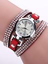 Damers Modeklocka Armbandsur Armbandsklocka / Diamant Imitation Quartz Läder Band Blomma Bohemisk Svart Vit Blå Röd Rosa Lila