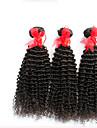 """3 st lot 12 """"-30"""" obearbetade brasilianska kinky lockigt jungfru hårwefts naturligt svart 1b # rå remy människohår väva buntar"""