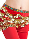 Belly Dance Hip Scarves Women\'s Performance Lycra Gold Coins 1 Piece Sleeveless Natural Hip Scarf