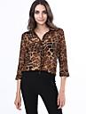 Chemise Aux femmes,Leopard Decontracte / Quotidien simple Printemps / Ete / Automne Manches Longues Col en V Polyester Fin