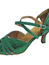 Chaussures de danse(Vert) -Personnalisables-Talon Personnalise-Daim / Paillette Brillante-Latine / Salsa